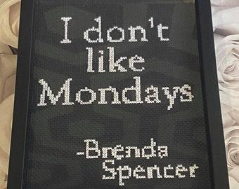 I don't like Mondays Cross Stitch, True Crime crafts, Morbid gifts, Cross stitch digital pattern file, True crime DIY