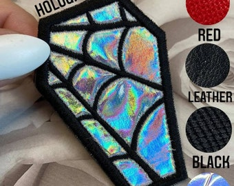 Coffin Spiderweb Patch, Embroidery, Goth, Spooky, Iron On, Faux Leather, Holographic, Hexagon Holographic