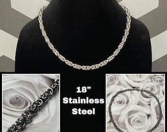 """Chainmail Necklace, Byzantine chain, 18"""" necklace, Stainless Steel Jewelry, Chainmaille Necklace, 25 Years of experience"""