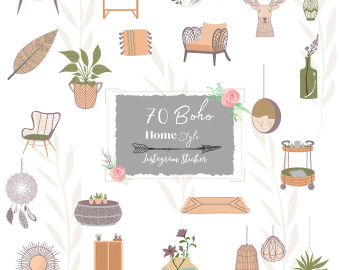 Featured listing image: Instagram Story Sticker & Elemente, Boho Home Style, Story Sticker