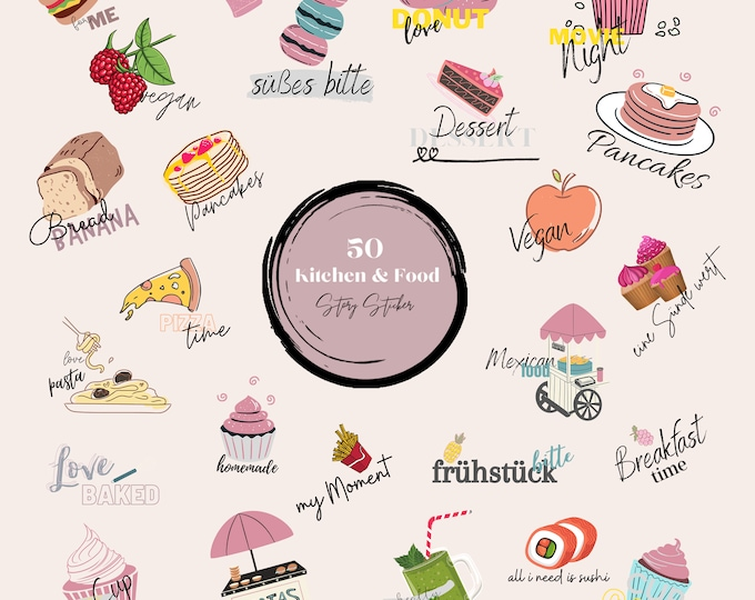 Featured listing image: 50 Instagram Story Sticker, Kitchen & Food, Set