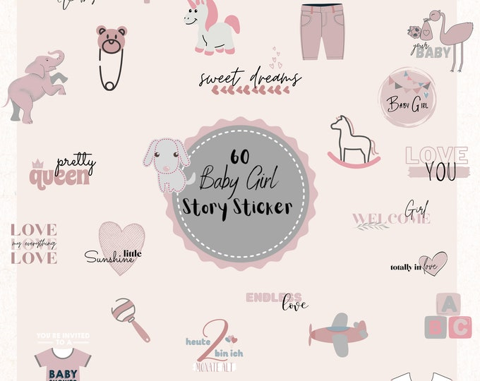 Featured listing image: 60 Instagram Story Sticker, Baby Girl, Set