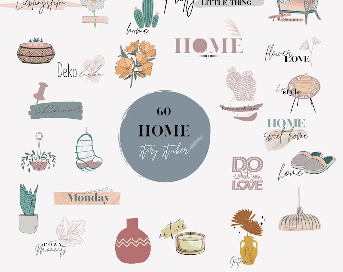Featured listing image: 60 INSTAGRAM STORY STICKER, Home Set