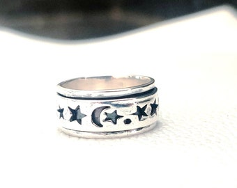 Hammered ring 925 Sterling Silver for women,spinner ring,Meditation ring,Fidget worry ring,Moon ring,Crescent ring Moon Shape Spinner Ring