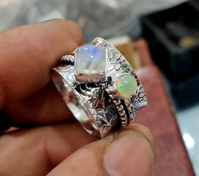 ++++++++=== Most Popular Moonstone /& Opal Spinner Ring 925 Sterling Silver Ring Meditation Ring Handmade Ring Silver Jewelry Statement Ring