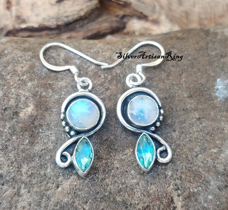 Handmade Earring Dangle Earring Woman Earring, Moonstone Earring Blue Topaz Earring Gemstone Earring 925 Sterling Silver Earring
