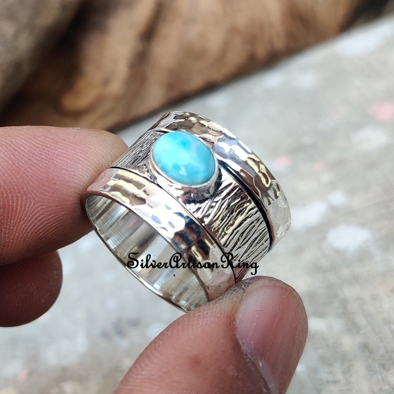 Beatiful Ring Worry Ring Larimar Ring Meditation Ring Woman Ring Handmade Ring Silver Jewelry Spinner Ring 925 Sterling Silver Ring