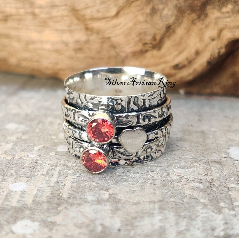 Handmade Ring Beatiful Ring Garnet Ring 925 Silver Ring Silver Jewelry Spinner Ring Stylish Ring Silver Jewelry Gemstone Ring