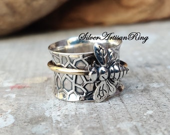 Honey Bee Spinner Ring ,925 Sterling Silver Ring ,Meditation Ring, Silver Jewelry ,Worry Ring, Anxiety Ring ,Beatiful Ring, Brass Ring