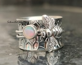 Opal Bee Ring Spinner Ring 925 Silver Ring Handmade Ring Meditation Ring Designer Ring Unique Ring Bee Jewelry Gorgeous Ring