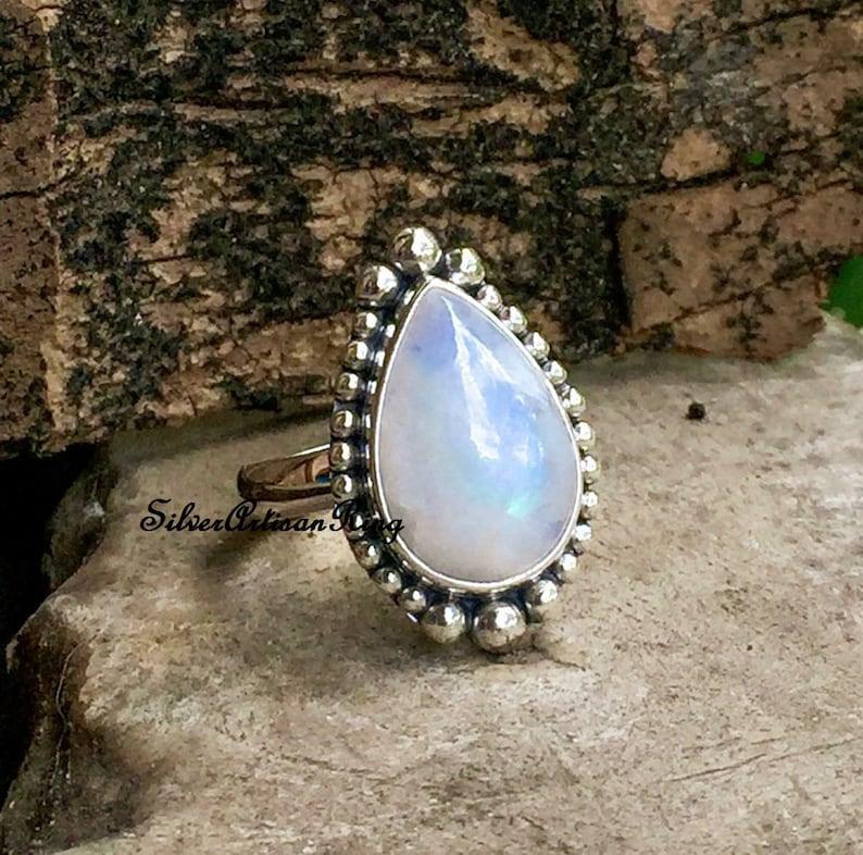 Woman Ring Bridesmaid Gift Beatiful Ring Designer Ring Stylish Ring Moonstone Ring Boho Ring 925 Sterling Silver Ring