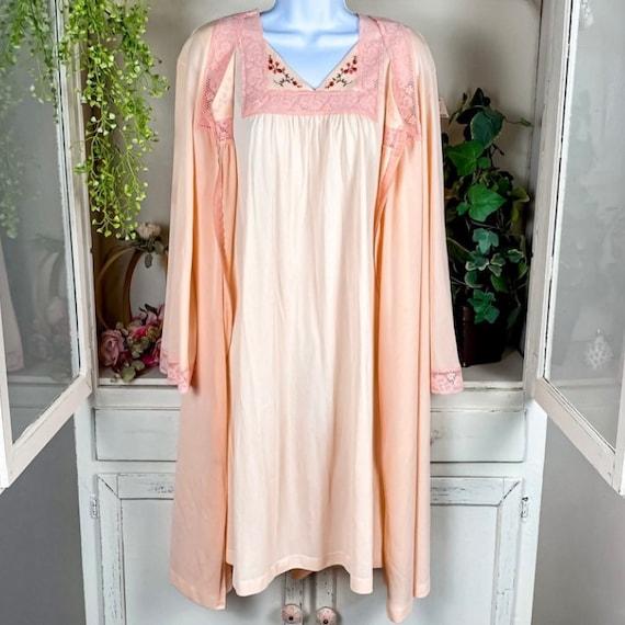 Gossard Artemis Small Pink Long Nightgown  Empire Negligee Satin Trim Rose Applique