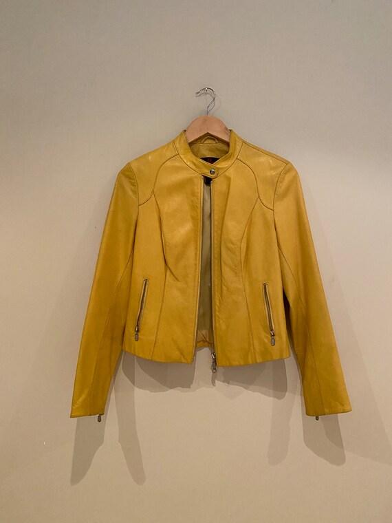 Danier Yellow Leather Motorcycle Jacket
