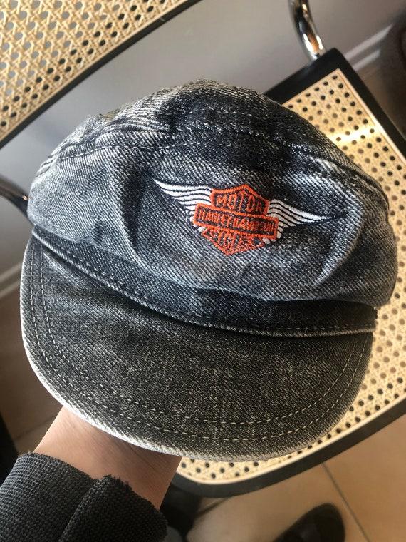 Vintage Harley Davidson Captain Hat/Denim Biker Ha