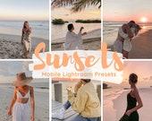Mobile Lightroom Presets, 12 Sunsets Presets, Golden Hour, Iphone Presets, Vintage Presets, Instagram Presets, Bright, Beach Filter, Summer
