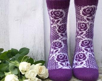 Socken-Strickanleitung / Rose-Socks Pattern / Socken stricken / knitting pattern / Strickanleitung Socken / Socks pattern