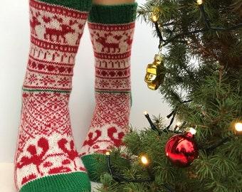 Socken-Strickanleitung / HO HO HO-Socks Pattern / Socken stricken / knitting pattern / Strickanleitung Socken / Christmas knitting patterns