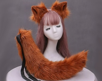 Deep red Fox tail and ears headband red set kawaii fox or wolf canine furry petplay festival cosplay rave fox ears and tail
