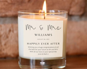 Mr & Mrs Personalised Candle, Gift For The Happy Couple, Unusual Wedding Gift, Personalised Wedding Present, Wedding Gift For Couple