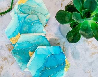 LUXE AQUA COASTERS/ Gold Leaf Hand Painted Alcohol Ink and Resin Coasters/ Alcohol Ink Coasters/ Hexagon Coasters/ Set of 4/ Agate Coasters