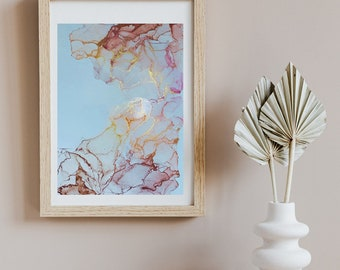 Original Work Alcohol Ink Painting/ Abstract Ink Painting / Pink, Tan and Gold/ 12x16/ Original Abstract Art/ Original Alcohol Ink Painting