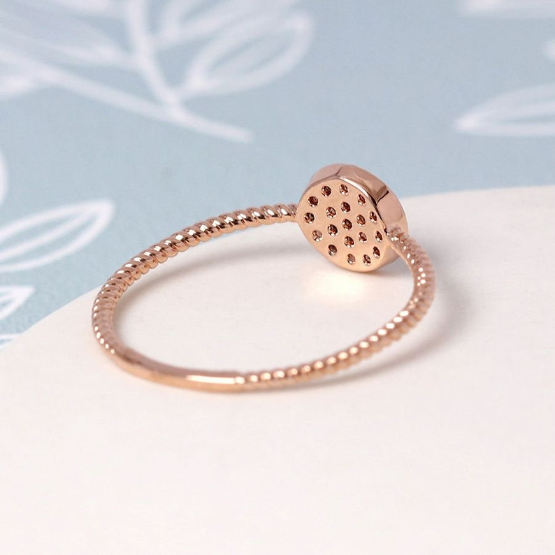 Rose gold plated pave crystal circle ring ML