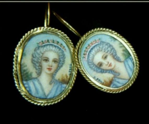 Hand painted Italian earrings