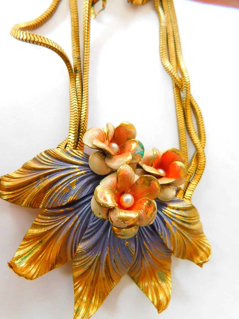 Vintage painted on brass necklace