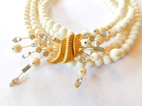 Signed Marvella  jeweled-faux pearl necklace - image 2