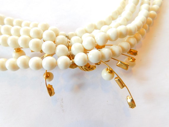 Signed Marvella  jeweled-faux pearl necklace - image 4