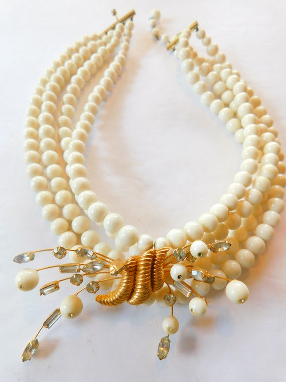 Signed Marvella  jeweled-faux pearl necklace - image 1