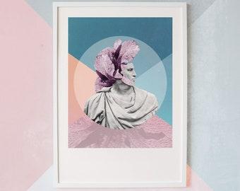 Plume Fine Art Giclée Print - Digital Collage Wall Art of Greek bust and purple Flower   A3