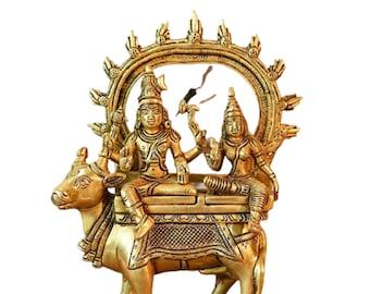 Sapna Arts indian brass holy Nandi Murti Home Temple idol shiv parvati vehicle statue 6