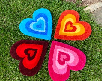 Colorful Mini Aesthetic Heart Tufted Rug (Blue, Orange, Pink, and Red)