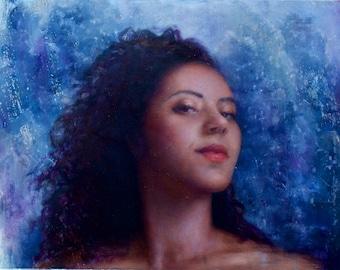 Savannah; Female Portrait Painting: Expressionist Realistic Art