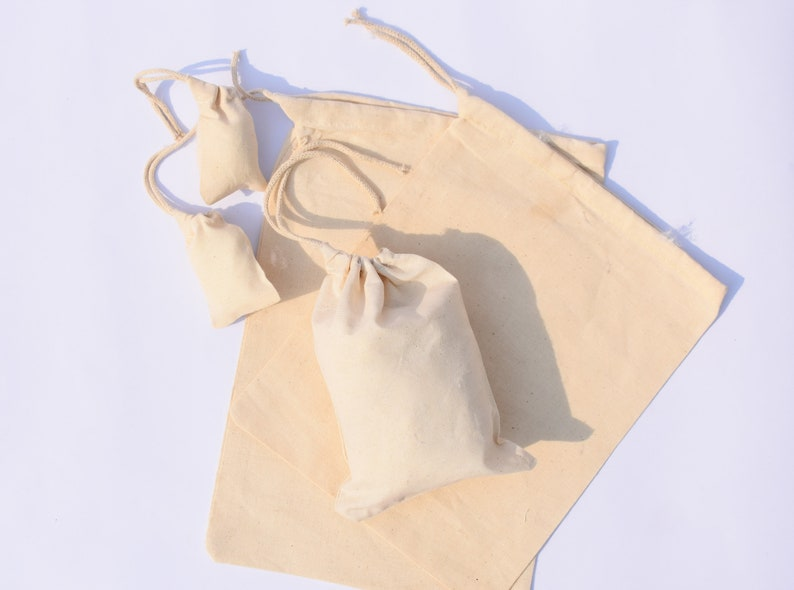Great for Packaging Free Delivery. Natural Cotton High Quality Bags 5 x 7 Inches Cotton Single Drawstring Muslin Bag Great Value