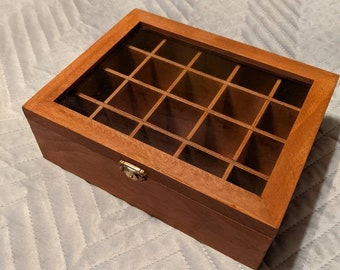 Essential Oil Wooden Storage Box with Glass Lid | Jarrah