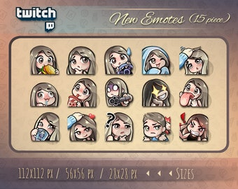 Twitch emotes // Cute chibi emotes for streamers / Girl emotes / for Twitch and Discord