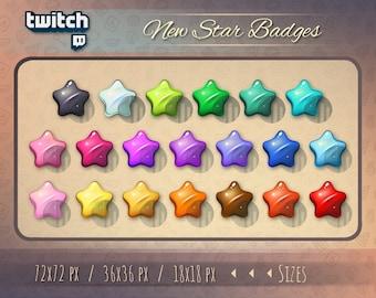 Star badges / Twitch bit badge / Twitch badges / Star Big Pack Twitch badges / Sub Cheer Bit Stream sub badges