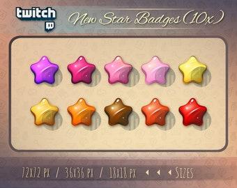 Star badges / Twitch bit badge / Twitch badges / Star Twitch badges / Sub Cheer Bit Stream sub badges