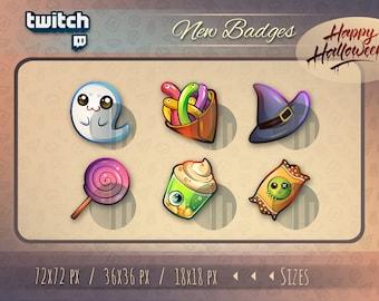 Twitch halloween sub bit badges / Halloween badges for streamers / kawaii cute halloween badge