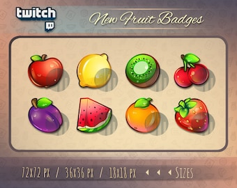 8 x Fruit Badges / Twitch Sub Badges / Bit Badges for streamers / kawaii cute Fruit stream emoji emotes