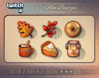 Autumn Twitch Badges / Twitch Sub Badges / Twitch Subscriber Cheer Badges / Twitch Bit Badges