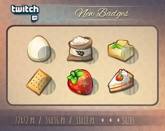 Twitch badges // Cookie badges for streamers / Cake badges / Streamer Twitch sub and cheer badges for your Stream