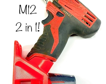 2in1 M12 Battery and Tool Mount - Milwaukee Tools Mount - Cordless Tool Mounts - Red - Black