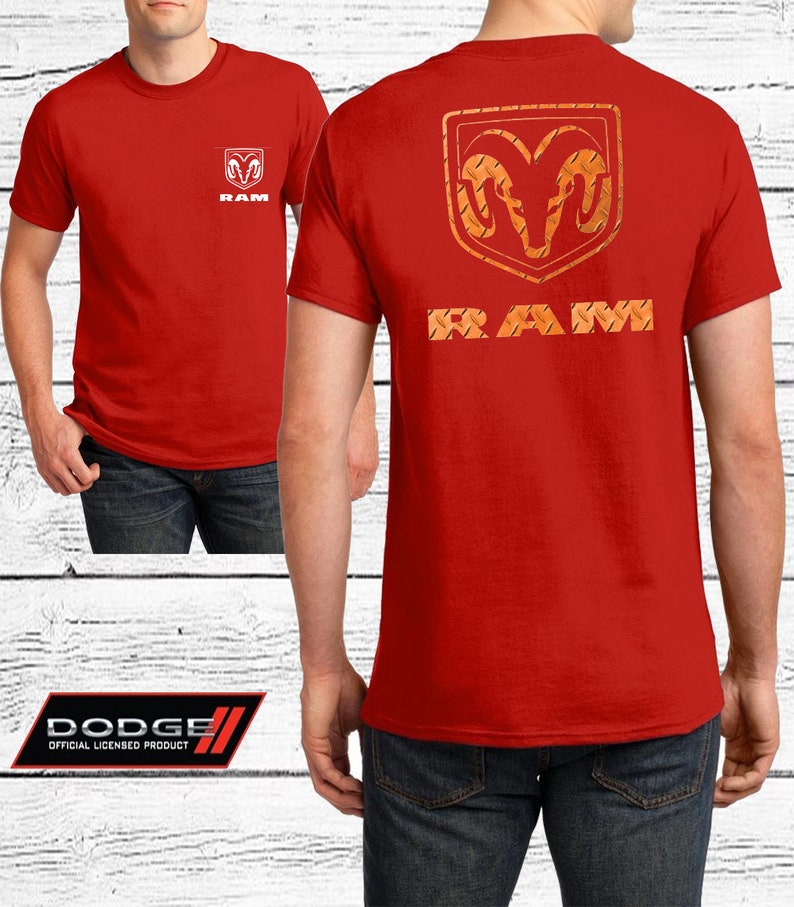 Dodge Ram Big Horn Official Licensed Product Dodge Ram Orange Logo Unisex Adult T-Shirt