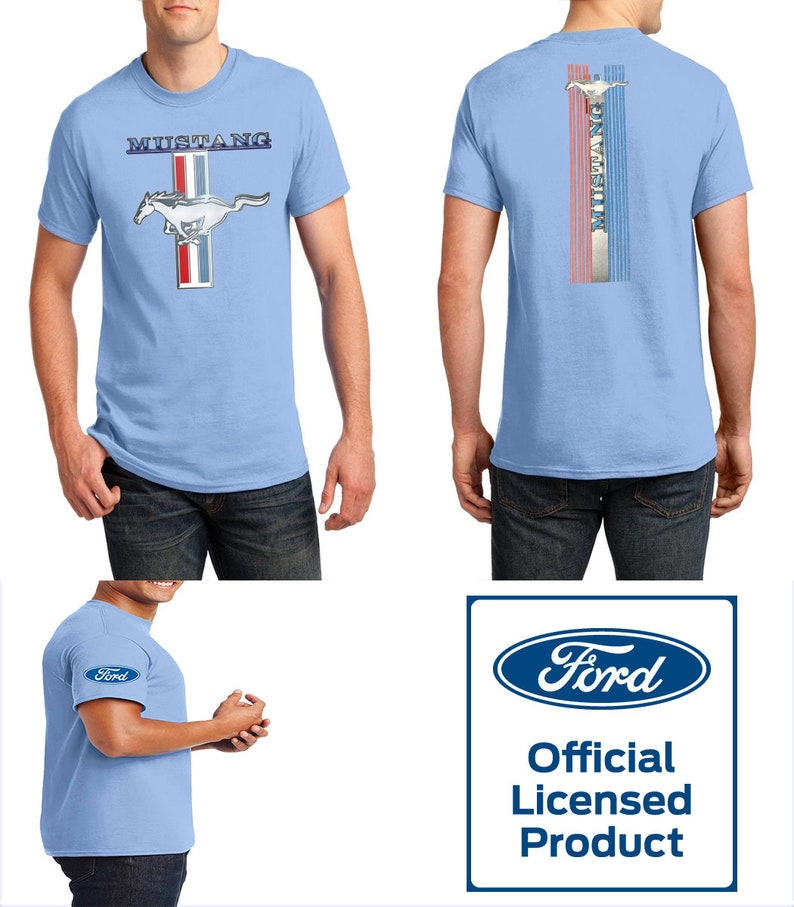 Unisex Adult T-Shirt Light Blue Mustang Official Licensed Product Ford Mustang T-Shirt