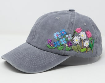 Wash Cotton Baseball Cap, Hand Embroidered Daisy Flower Hat, Curved Brim Baseball Hat, Colorful Summer Cap
