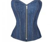 Blue Denim Zipper Gothic Steel Boned Bustier Waist Training Overbust Corset Costume