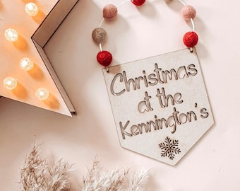 """Christmas at the .. """" door hanging 